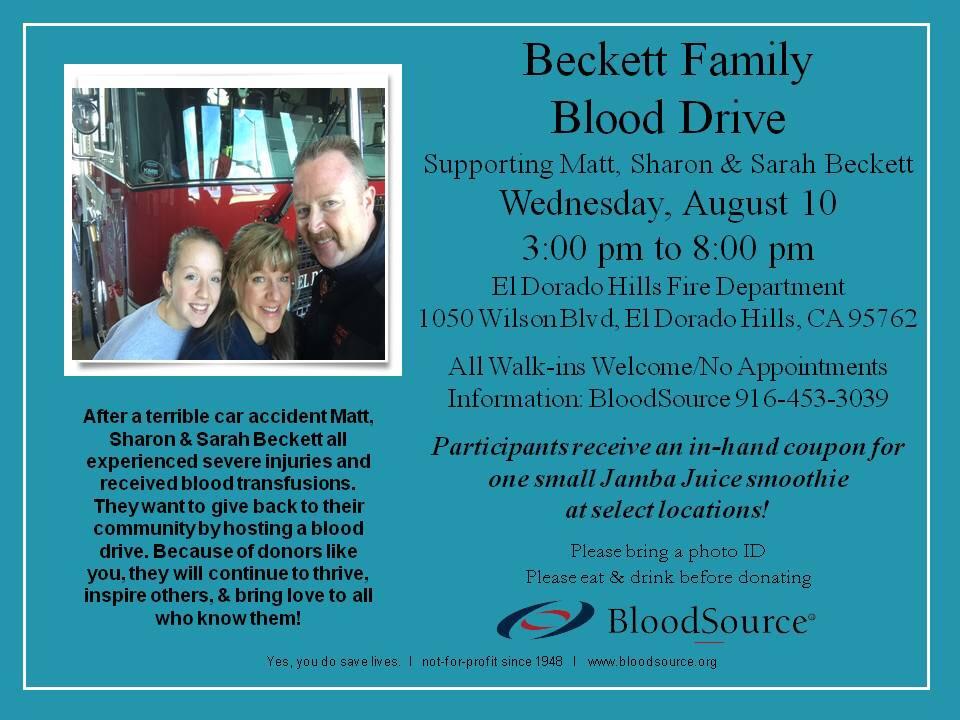 Beckett Family Blood Drive